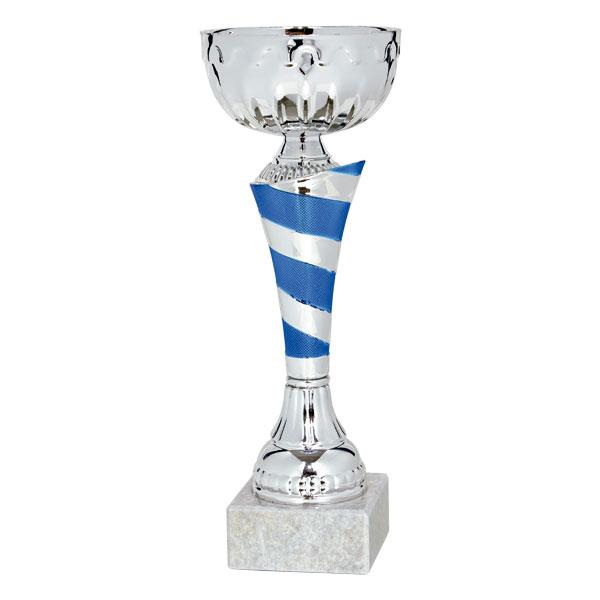 Copa plateada y azul